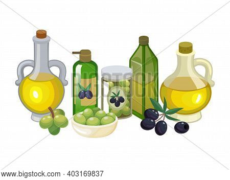 Concept Eco Health Natural Product Virgin Olive Oil, Fresh Olive Foodstuff, Healthy Butter Food Cart