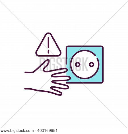 Electricity Hazard Rgb Color Icon. Safety At Home With Electrical Outlet. Wired Socket. Danger For A