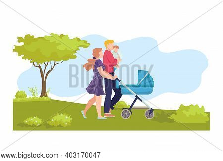 Young Modern Family Walk Baby Carriage, Ecology Natural Outdoor Stroll, Character Hold Newborn Flat