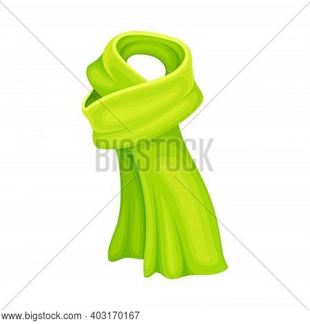 Green Winter Scarf As Seasonal Neckwear For Keeping Warm Vector Illustration
