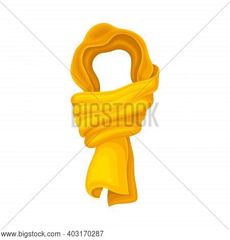 Yellow Winter Scarf As Seasonal Neckwear For Keeping Warm Vector Illustration
