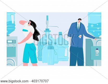 Male Drink Clear Organic Fresh Drinking Water, Woman Character Hold Paper Cup, Quench Thirst Flat Ve