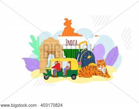 Indian Style Travel Excursion Concept Banner Hindu Oriental Trip, Asian Tuk Tuk With Driver Characte