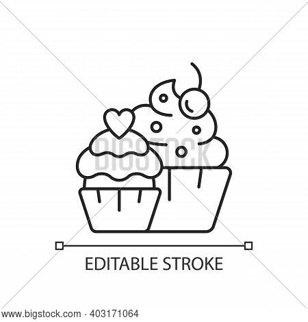 Muffins Linear Icon. Cupcakes With Icing And Sprinkles. Confectionery For Party. Thin Line Customiza