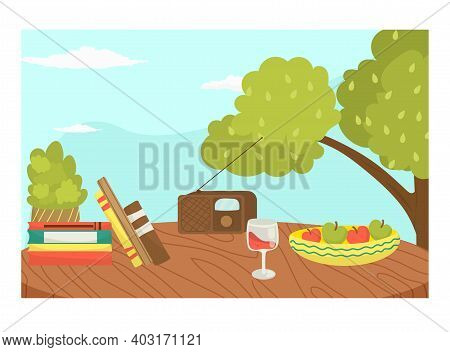 Picnic Wild Organic Ecology Place, Foodstuff Outdoor Forest Tree Area, Cozy Meal Location With Radio