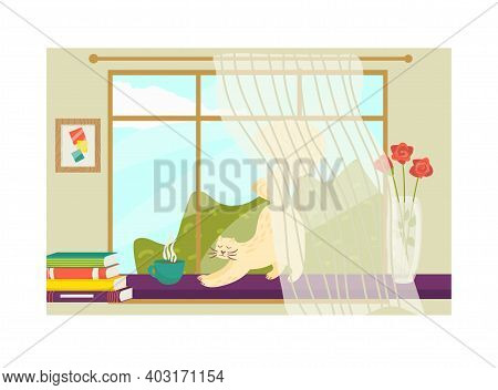 Cozy Morning Time, Cat Animal Stretches On Sill, Floor Ceiling Window With Book Stack, Pot Flower Fl