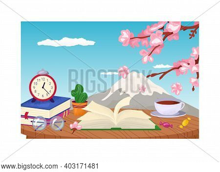 Cozy Place Fujiyama Landscape, Reading Table Place With Book Stack, Japanese Tea And Sakura Tree Fla