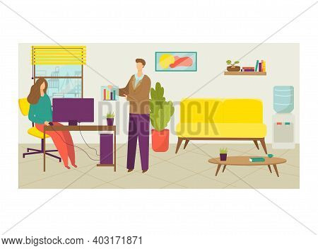 Subordinate Colleague Male Character Show Infographic Woman Boss, Team Leader Office Cabinet Flat Ve