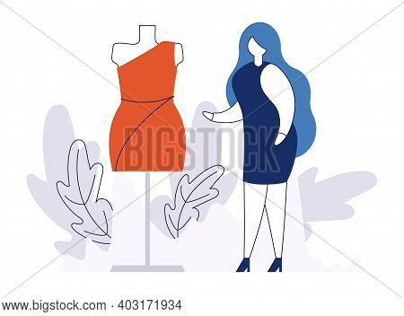 Young Modern Woman Character Red Dress Fitting, Mannequin For Fashion Clothes Flat Vector Illustrati