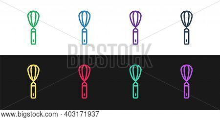 Set Line Kitchen Whisk Icon Isolated On Black And White Background. Cooking Utensil, Egg Beater. Cut
