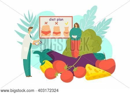Medical Nutritionist Doctor Advise To Character Woman Balanced Vegan Diet, Healthy Food Ration Flat