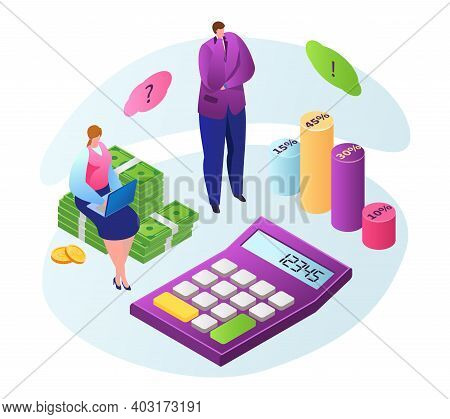 Woman Character Sitting Laptop On Dollar Cash, Businessman Creative Idea, Infographic Money 3d Isome