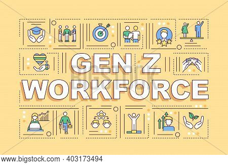 Gen Z Workforce Concepts Banner. Wellness And Physical Health In Corporation. Infographics With Line