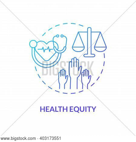 Health Equity Concept Icon. Health Programs Principles. Getting Best Medical Help From Proffesionals