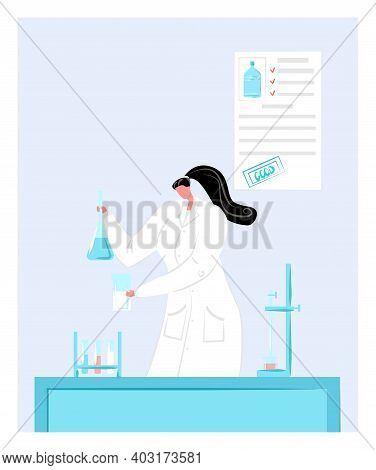 Woman Research Fellow Study Chemical Element, Female Character Work With Laboratory Flask Flat Vecto