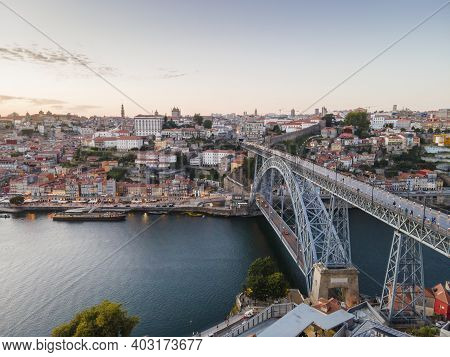 Aerial View Of Beautiful City Of Porto At Sunset, Portugal