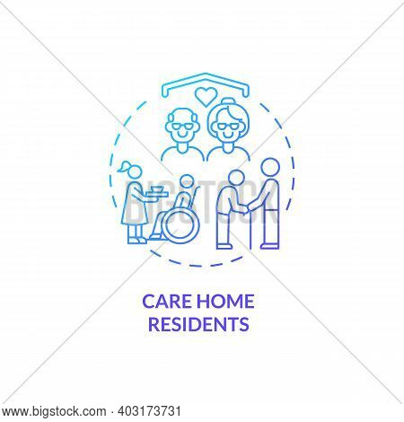 Care Home Residents Concept Icon. Covid Vaccination Priority List. Helping People Remotely At Home.