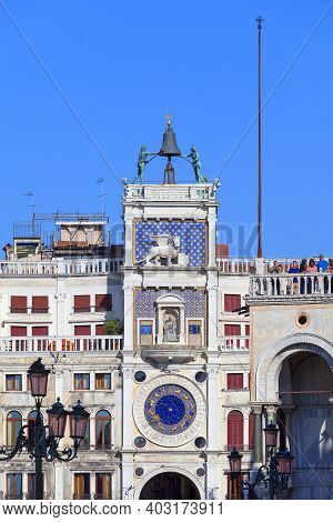 Venice, Italy - September, 21, 2017: St Mark's Clocktower (torre Dell'orologio) On Piazza San Marco,