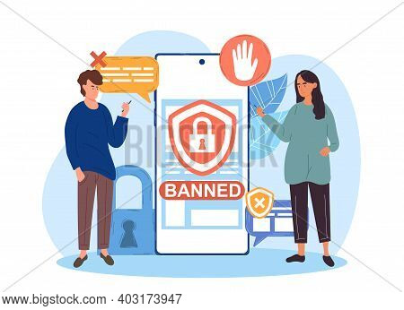 Male And Female Characters Holding Smartphone With Banned Internet Content On Screen. Concept Of Mod