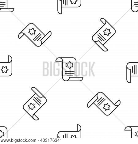 Grey Line Torah Scroll Icon Isolated Seamless Pattern On White Background. Jewish Torah In Expanded