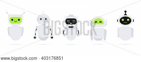 Set Of Chat Bot In Flat Style. Chat Messenger Icon. Support Or Service Icon. Support Service Bot. On