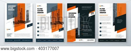 Flyer Design Set. Modern Flyer Background With Orange Accents. Template Layout For Flyer. Concept Wi