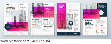Flyer Design Set. Modern Flyer Background Design. Template Layout For Flyer. Concept With Dynamic Li