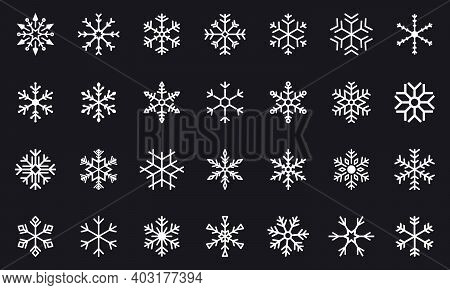 Set Of Black Vector Snowflakes. Winter Snowflake Icons. Winter Christmas Snow Flake Crystal Element.