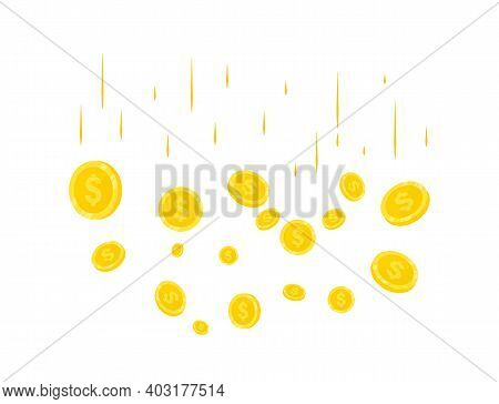Rain Of Realistic Gold Coins. Coins Money Falling. Jackpot Or Success Concept For Your Online Casino