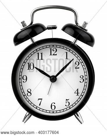 Vintage Alarm Clock Set At 10 O'clock Isolated On White Background