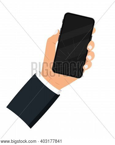 Holding In The Hand A Black Smartphone With A Broken Display. Broken Mobile Phone Screen. Touch Scre