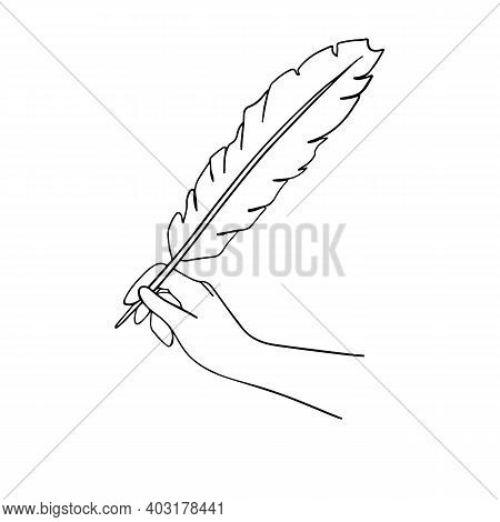 Female Hand Holding A Goose Feather Pen. Vector Black Hand Draw Illustration For Poster, Label, Bann