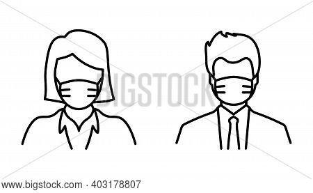 Man And Woman In Medical Face Protection Mask, Thin Line Icon. Medical Mask Icon. Corona Virus Quara