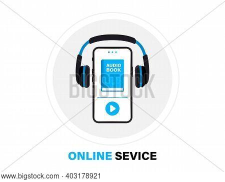 Audiobooks Logo. Listen Literature, E-books In Audio Format. Books Online Mobile Application Flat Ic