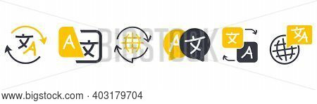 Set Of Icon For Translator App. Chat Bubbles With Language Translation Icons In Different Styles. On