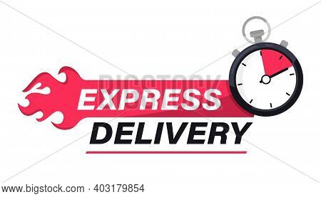 Express Delivery With Stopwatch Icon. Sticker, Label Fast Delivery. Timer And Express Delivery Inscr