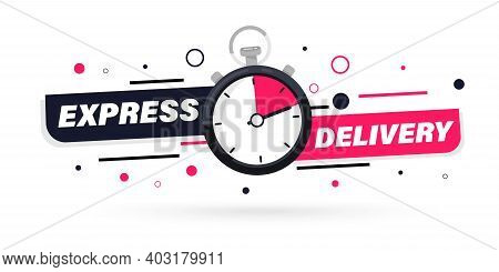 Express Delivery With Stopwatch Icon For Apps And Website. Fast Delivery. Timer And Express Delivery