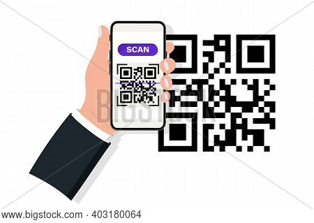 Hand Holding Smartphone With Qr Code Scanner. Qr Code Scanner. Scanning Qr Code, Barcode On Mobile P
