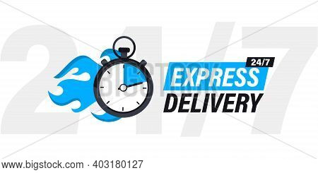 Speeding Stopwatch On Fire With Inscription Express Delivery. Sticker, Fast Delivery. Timer And Expr