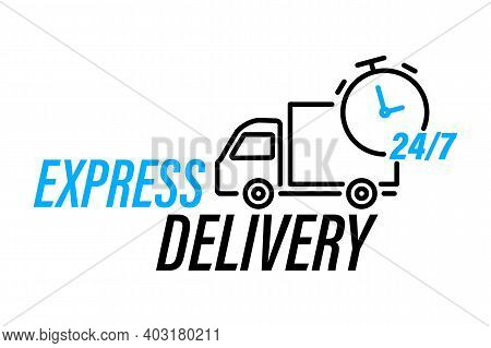 Fast Delivery Truck Icon. Online Delivery Service Line Vector Icon. Express Delivery, Quick Move. Fa