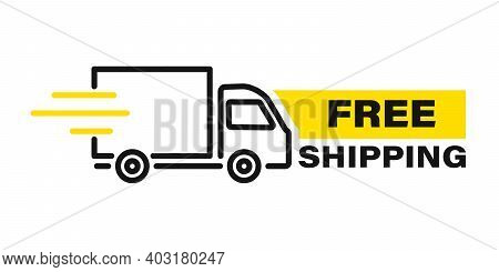 Fast Delivery Truck With Motion Lines. Online Delivery. Express Delivery, Quick Move. Fast Shipping