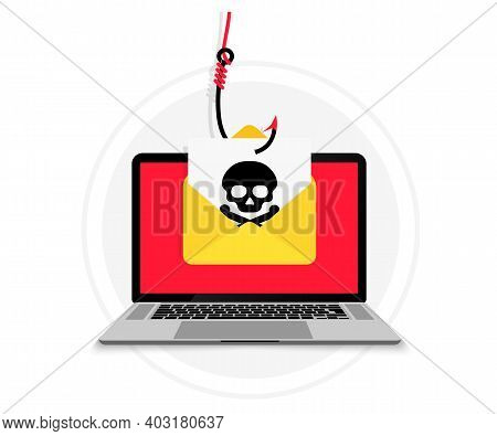 Account Theft. Laptop With Email Envelope In Fish Hook. Hacking And Identity Theft. Email Data Phish