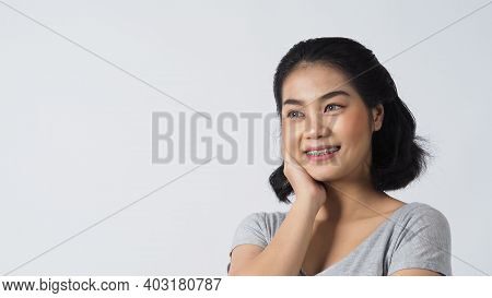 Dental Brace Teenager Girl Smile And Looking To Camera.