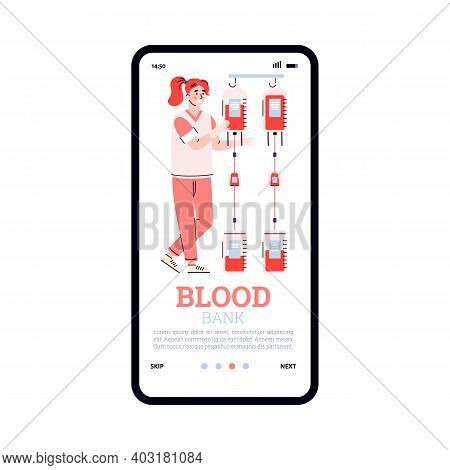 Blood Donation Transfusion. Mobile Medical App On Phone Screen For Blood Bank. Female Doctor Or Nurs