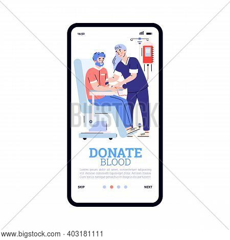 Blood Donation. Mobile App On Phone Screen With Transfusion. Male Donor Volunteer Donate Lifeblood F