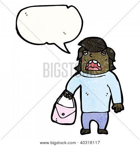 cartoon talking man carrying purse