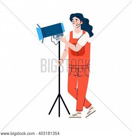 Woman Illuminator On Shooting Site Or Lighting Operator With Spotlight, Cartoon Vector Illustration