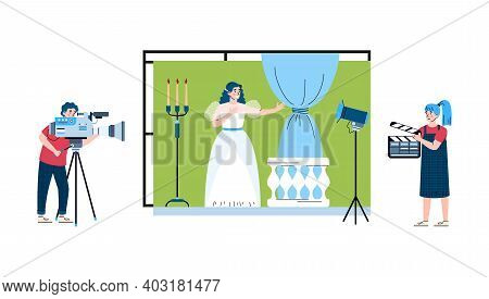 Film Shooting Process With Cameraman And Actress In Stage Costume, Flat Cartoon Vector Illustration