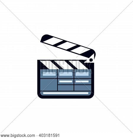 Icon Of Cinema Clapper Board. Movie Clap, Tool Of Film Crew Member. Filmmaking Production, Entertain