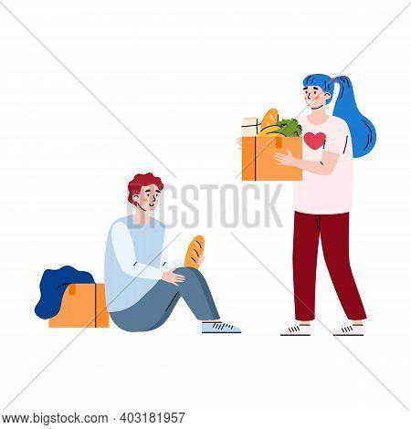 Female Volunteer With Cardboard Box Full Of Products Donate Food To Homeless Poor Man. Volunteering,
